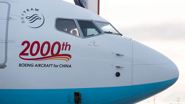 Chinese airline received Boeing No 2000
